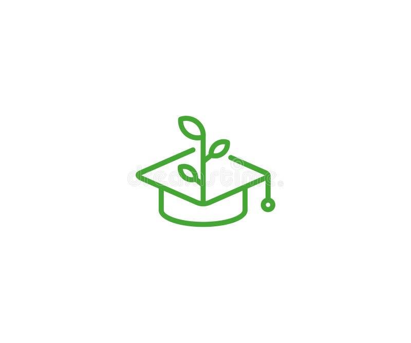 Plantilla del logotipo del casquillo y del brote del soltero Diseño del vector del crecimiento de la educación ilustración del vector