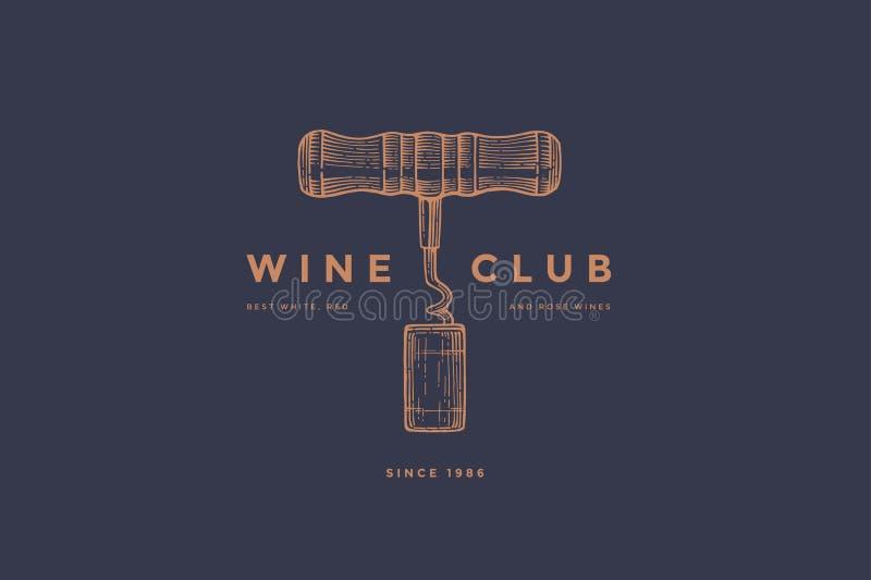 Plantilla del logotipo del club del vino con el corcho del sacacorchos y del vino de la imagen en fondo azul marino ilustración del vector