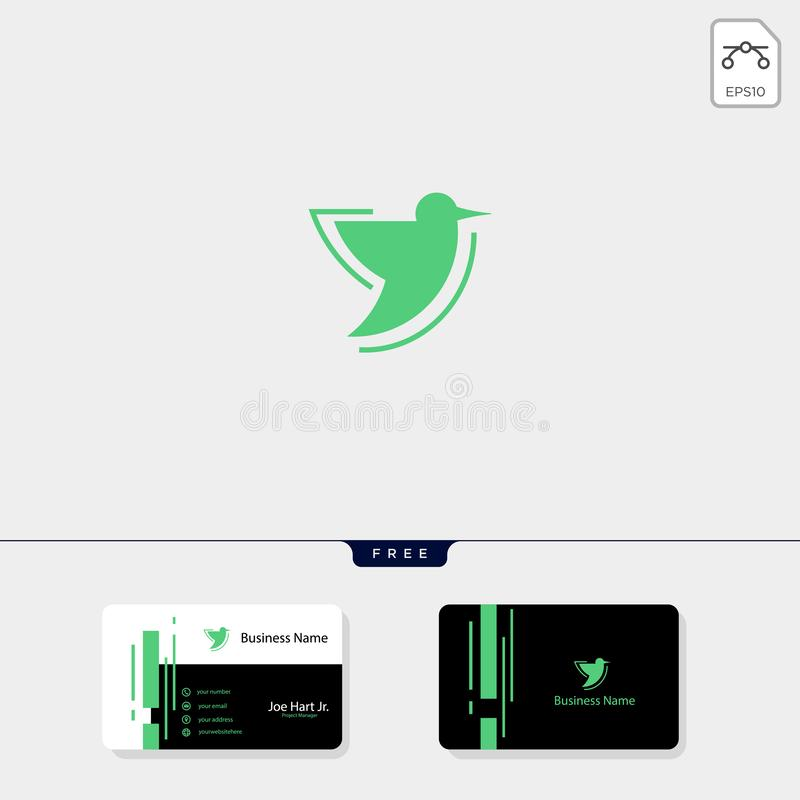 plantilla del logotipo del colibrí, plantilla libre del diseño de la tarjeta de visita del ejemplo del vector libre illustration