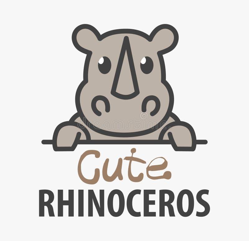 Plantilla del logotipo con el rinoceronte lindo Plantilla del rinoceronte del diseño del logotipo del vector para el parque zooló stock de ilustración