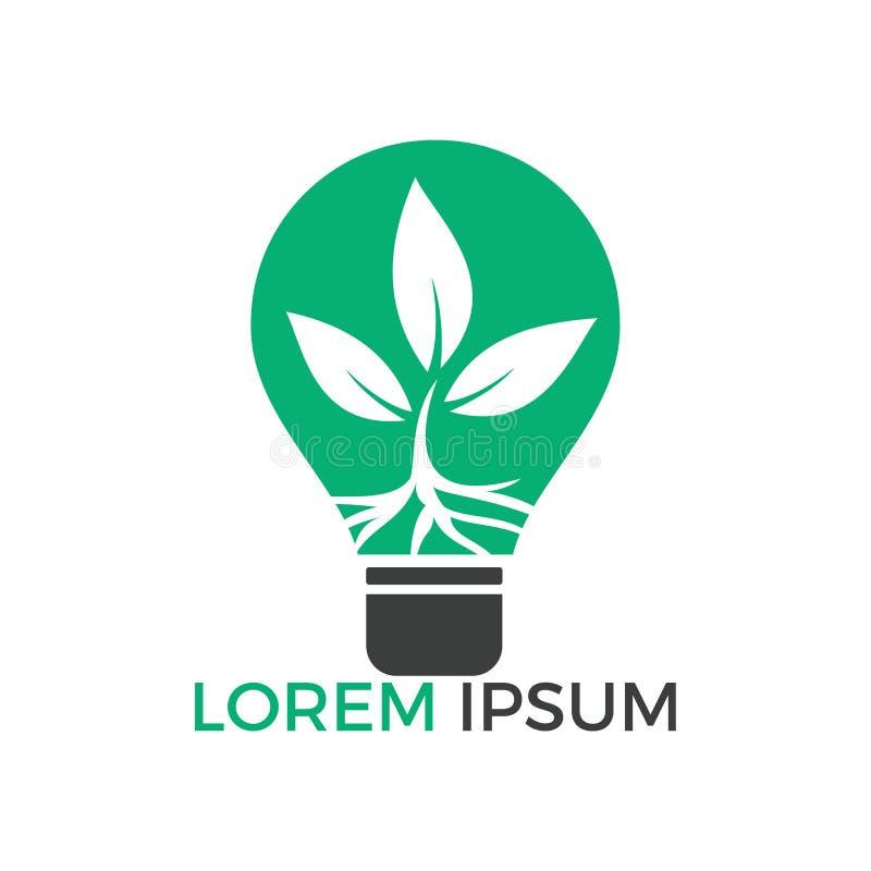 Plantilla del logotipo con la planta que crece la bombilla interior ilustración del vector