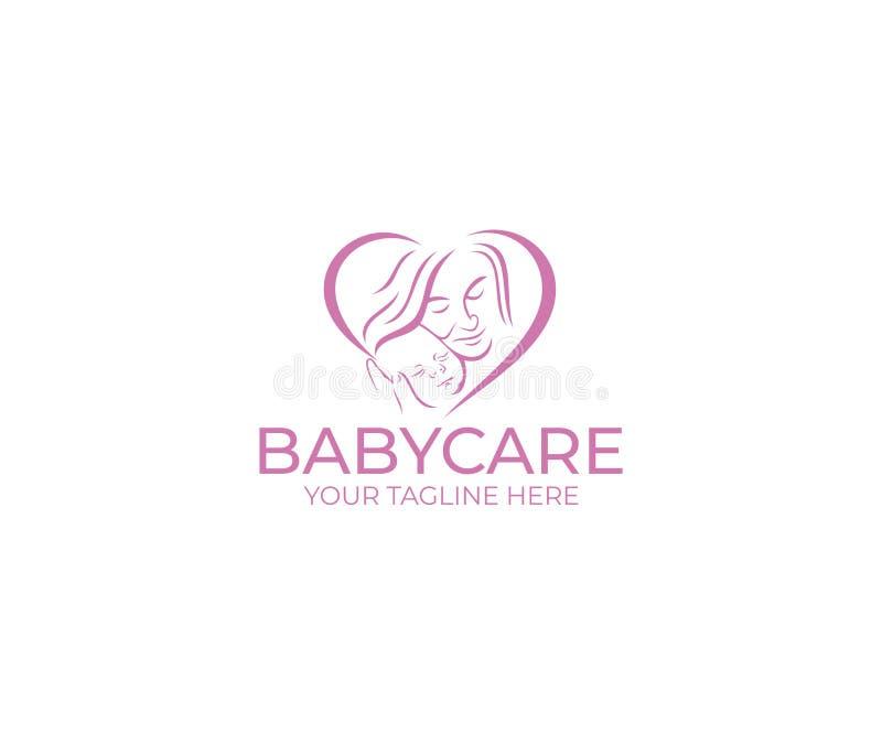 Plantilla del logotipo del cuidado del bebé Diseño del vector de la madre y del niño ilustración del vector