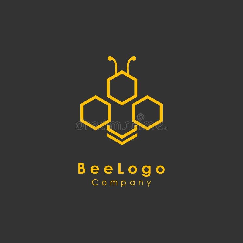 plantilla del logotipo de la abeja, vector del diseño de la miel, icono ilustración del vector
