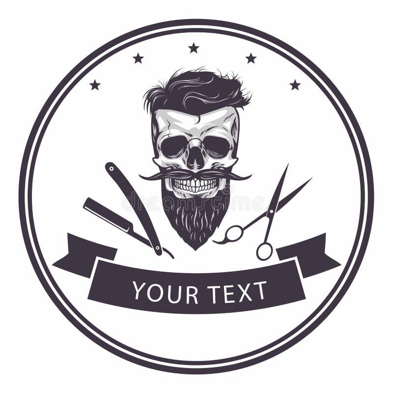 Plantilla del logotipo de la barbería Ejemplo barbudo del vector del cráneo stock de ilustración
