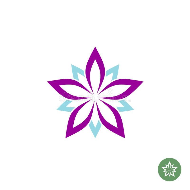 Plantilla del logotipo de la flor de loto de cinco hojas stock de ilustración