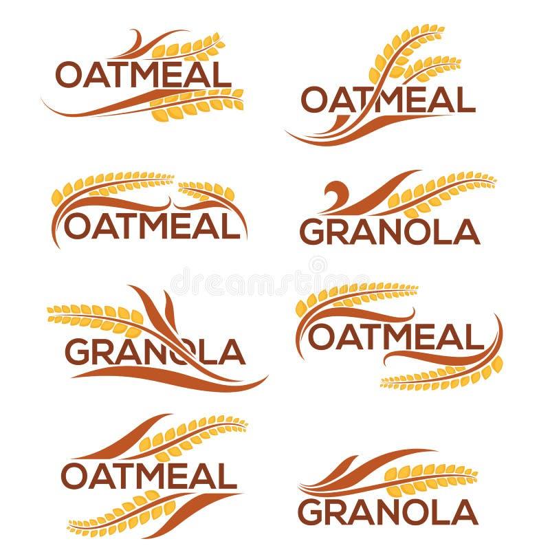 Plantilla del logotipo de la harina de avena y del granola con la composición de las letras y ilustración del vector