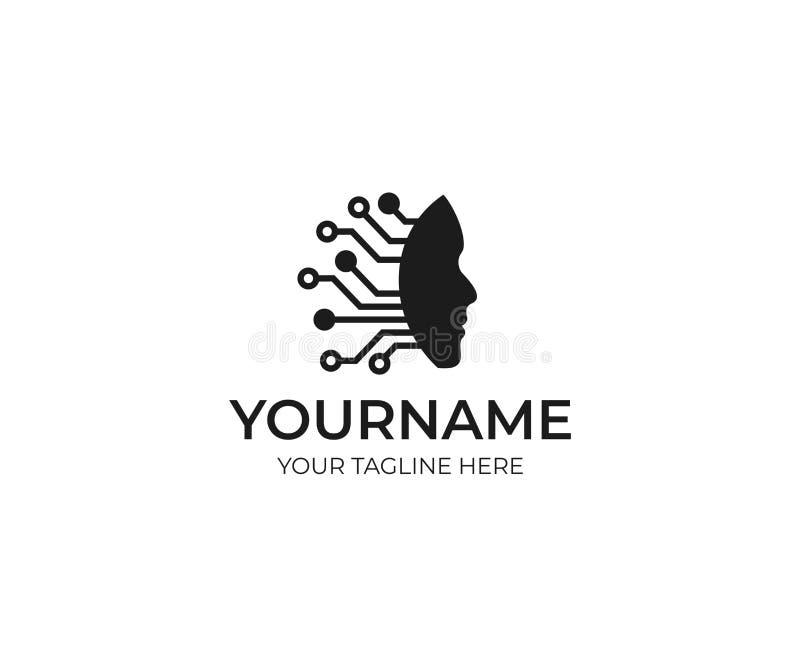 Plantilla del logotipo de la inteligencia artificial y del rostro humano Rejilla de la electrónica de los circuitos y diseño del  stock de ilustración