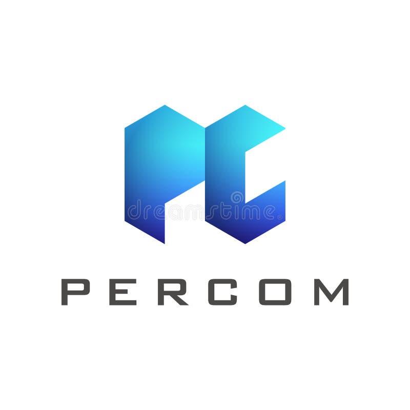 Plantilla del logotipo de la letra de la PC con pendiente azul del color ilustración del vector
