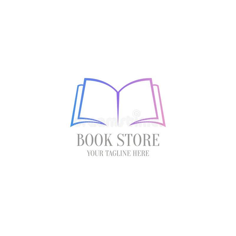 Plantilla del logotipo de la librería Libro abierto del logotipo del diseño stock de ilustración
