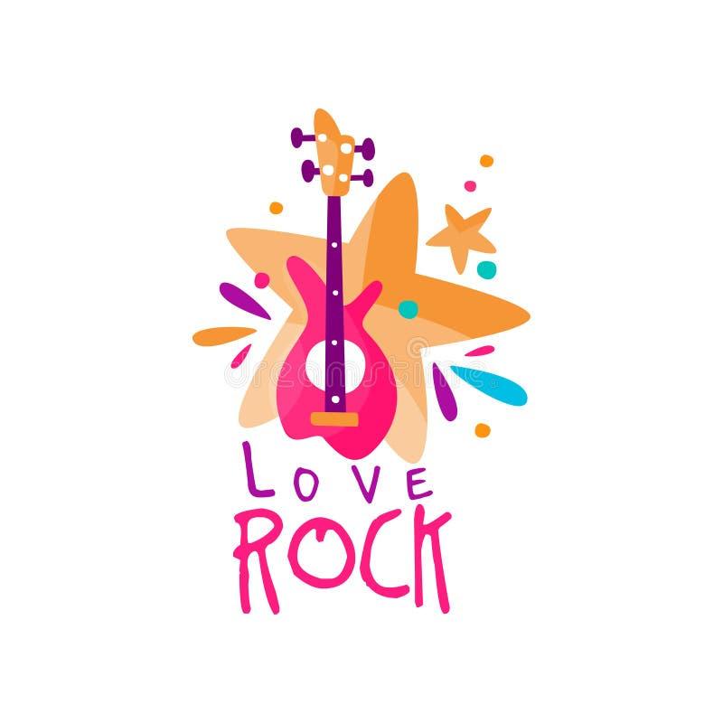 Plantilla del logotipo de la música original con la guitarra eléctrica y las estrellas Vector el emblema para el festival de la r ilustración del vector