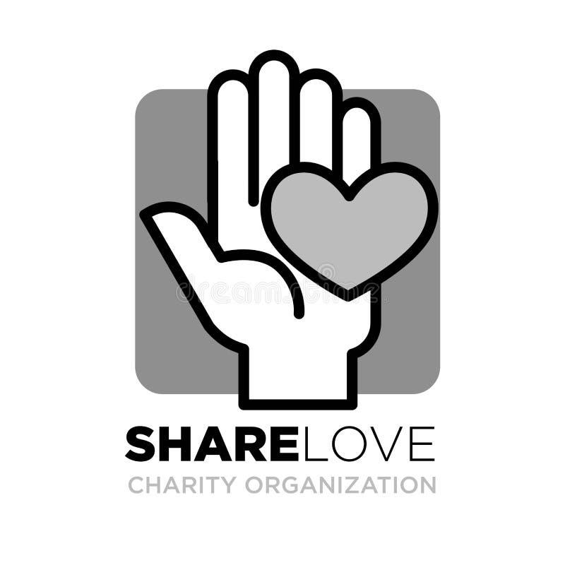 Plantilla del logotipo de la mano y del corazón para la organización social de la acción de la donación y de la caridad ilustración del vector