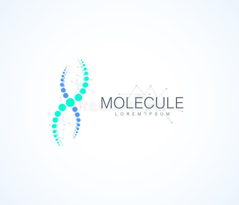Plantilla del logotipo de la molécula, icono de la hélice de la DNA Ilustración del vector ilustración del vector