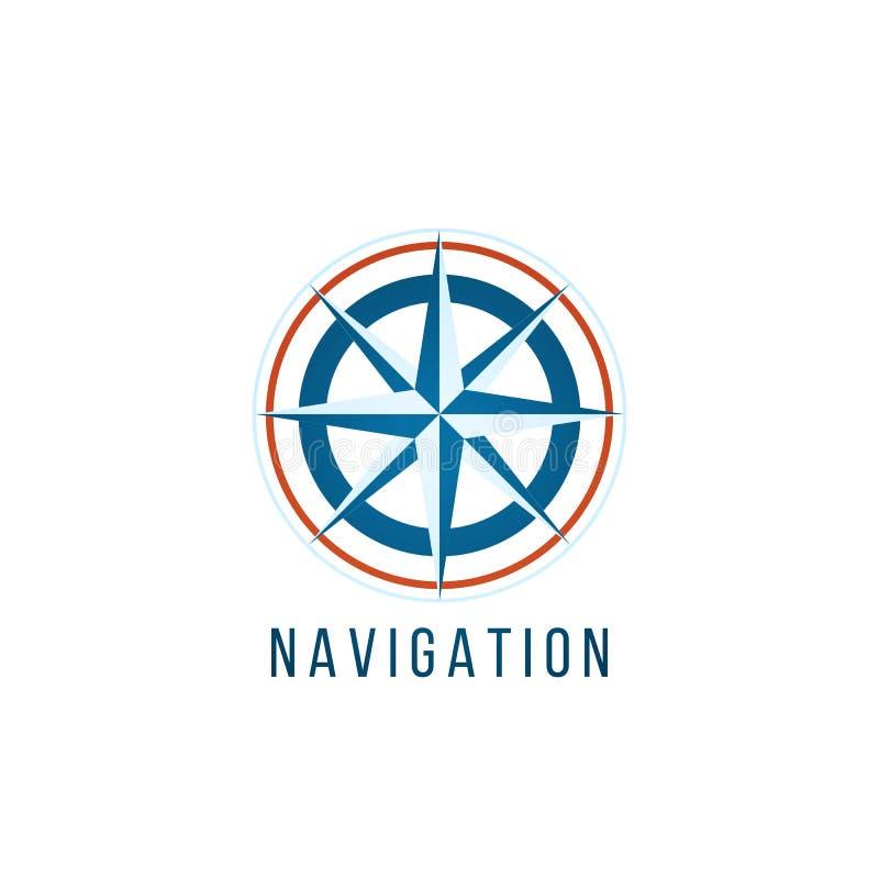 Plantilla del logotipo de la navegación con el compás stock de ilustración