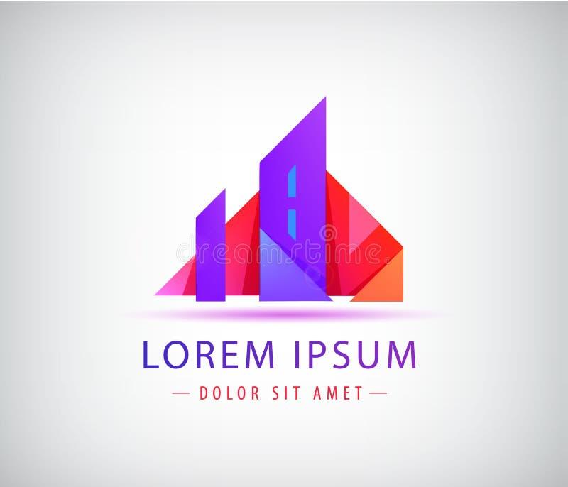Plantilla del logotipo de las propiedades inmobiliarias Concepto de la ciudad de la papiroflexia, edificio stock de ilustración