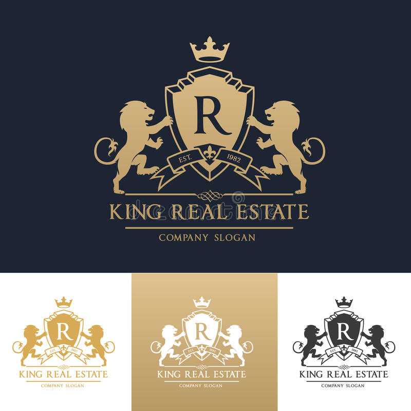 Plantilla del logotipo de las propiedades inmobiliarias del león del rey stock de ilustración