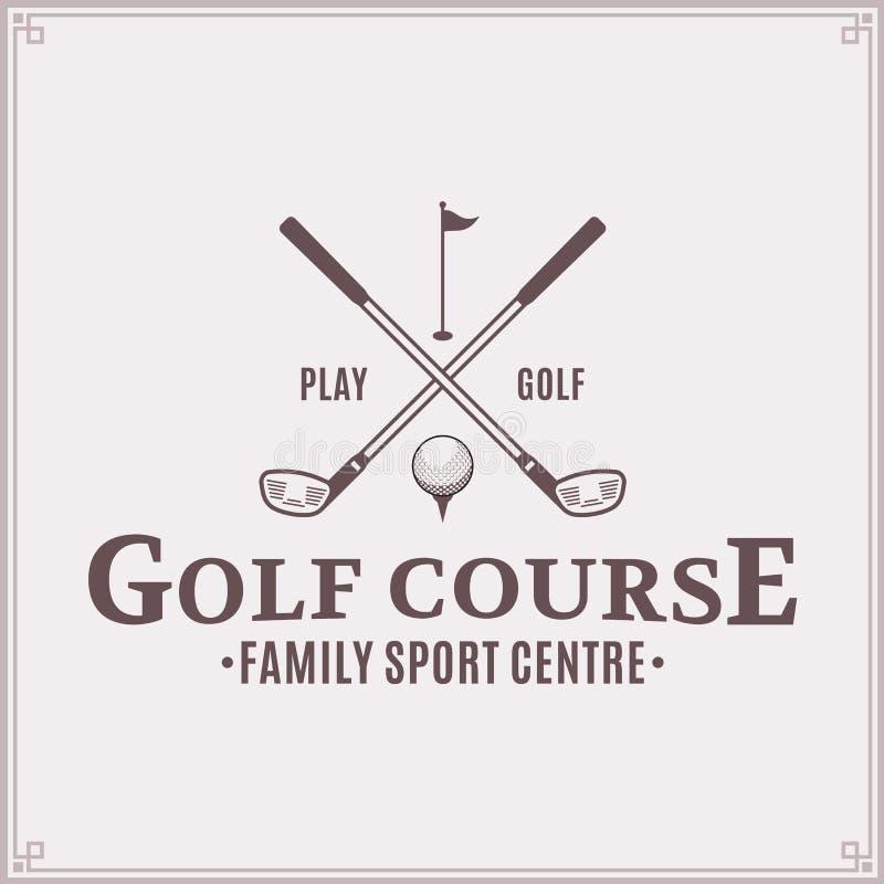 Plantilla del logotipo del club de campo del golf stock de ilustración