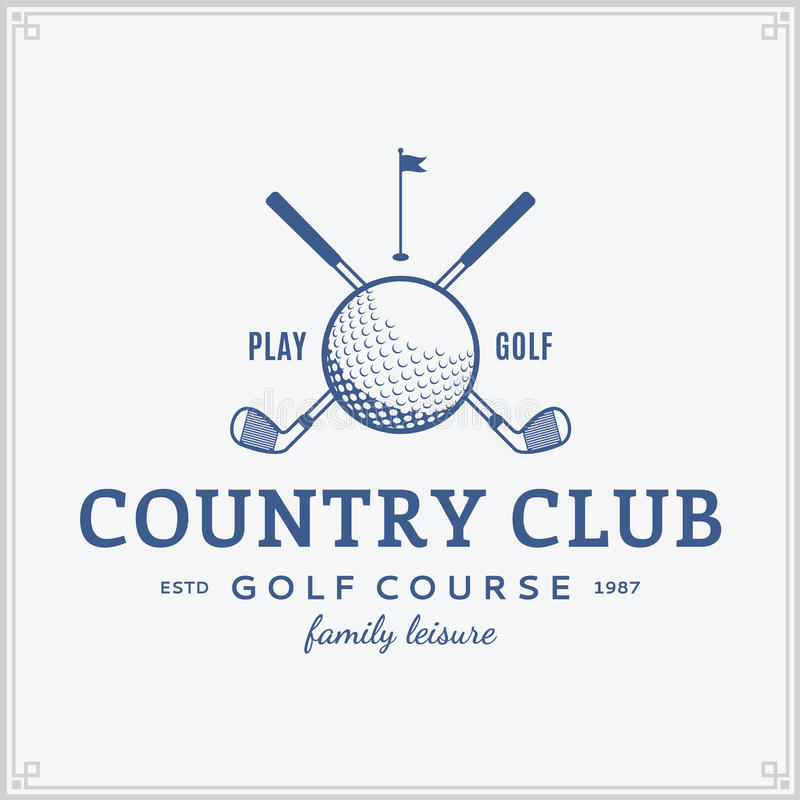 Plantilla del logotipo del club de campo del golf ilustración del vector