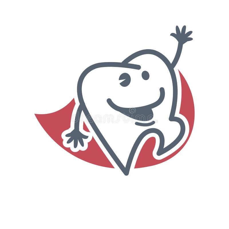 Plantilla del logotipo del diente de la historieta para la odontología de niño o la etiqueta dental de la etiqueta del producto d libre illustration