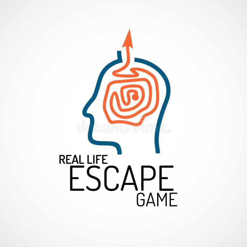 Plantilla del logotipo del juego de la búsqueda del escape de la vida real libre illustration