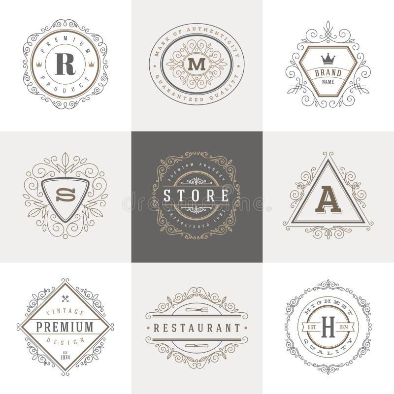Plantilla del logotipo del monograma stock de ilustración