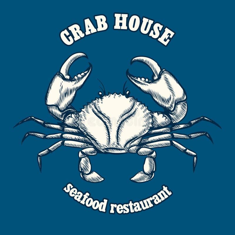 Plantilla del logotipo del restaurante de los mariscos con el cangrejo libre illustration