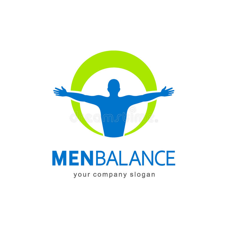 Plantilla del logotipo del vector Balanza de los hombres, balanza del cuerpo stock de ilustración