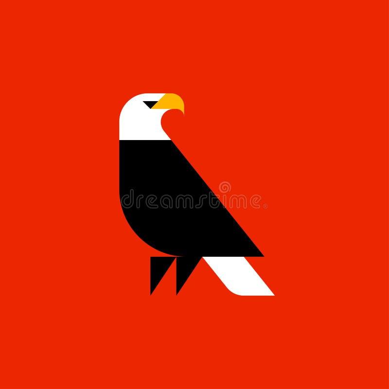 Plantilla del logotipo del vector del estilo o icono gorda del águila calva stock de ilustración
