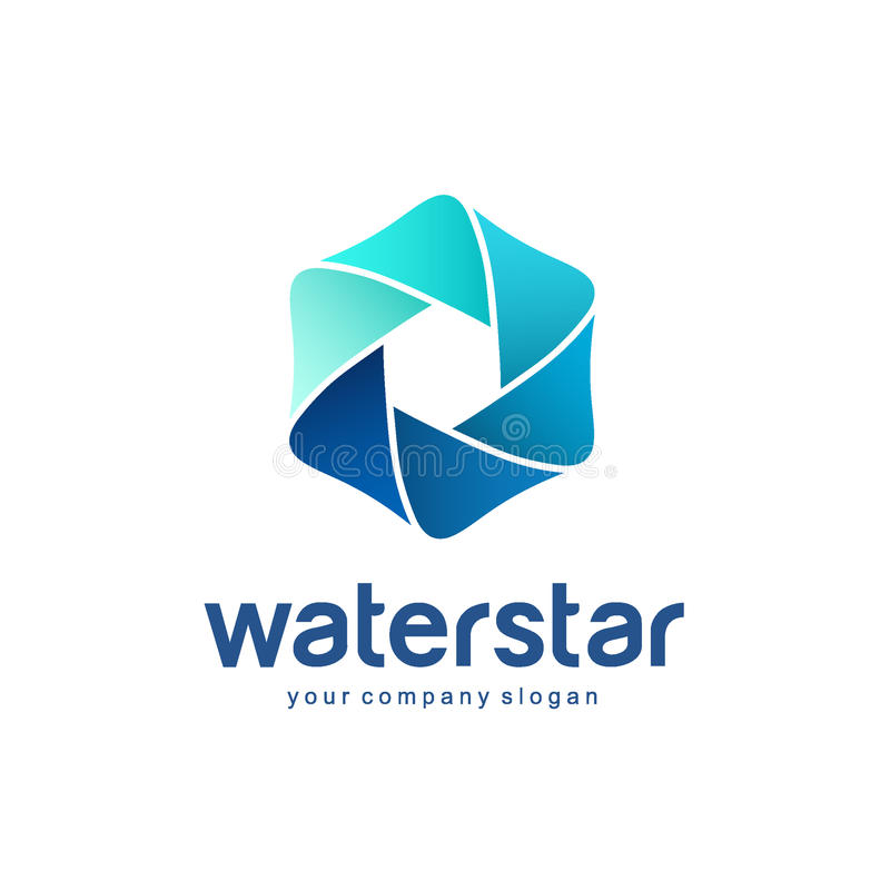Plantilla del logotipo del vector Firme para los tubos y los sistemas de aguas residuales de limpieza, filtros de agua Agua clara stock de ilustración