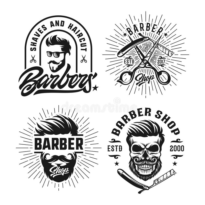 Plantilla del logotipo del diseño del vintage de la peluquería de caballeros ilustración del vector