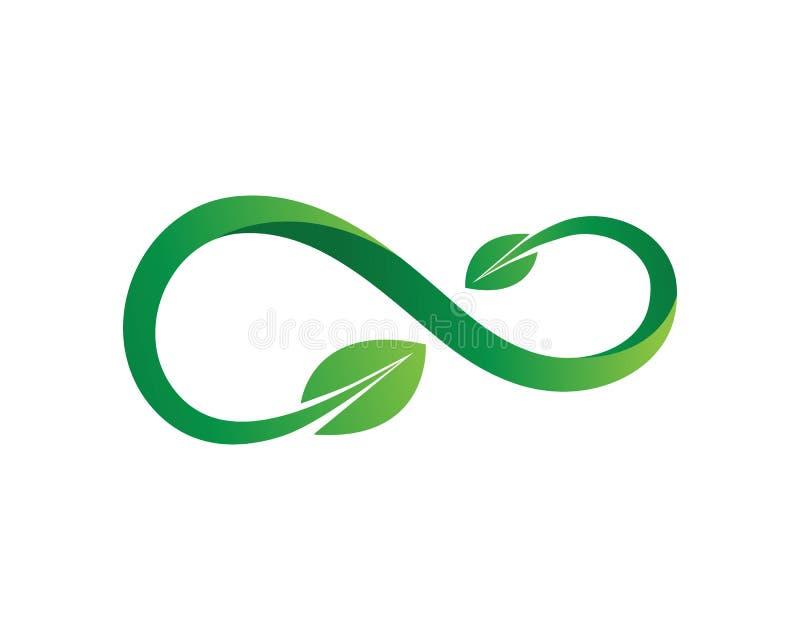 Plantilla del logotipo del ejemplo del icono del vector del diseño del verde de la hoja del infinito stock de ilustración