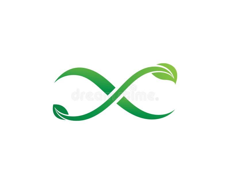 Plantilla del logotipo del ejemplo del icono del vector del dise?o del verde de la hoja del infinito libre illustration