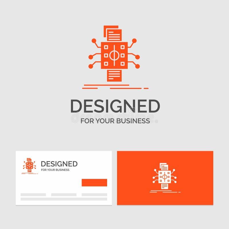 Plantilla del logotipo del negocio para el análisis, datos, dato, procesando, información Tarjetas de visita anaranjadas con la p stock de ilustración