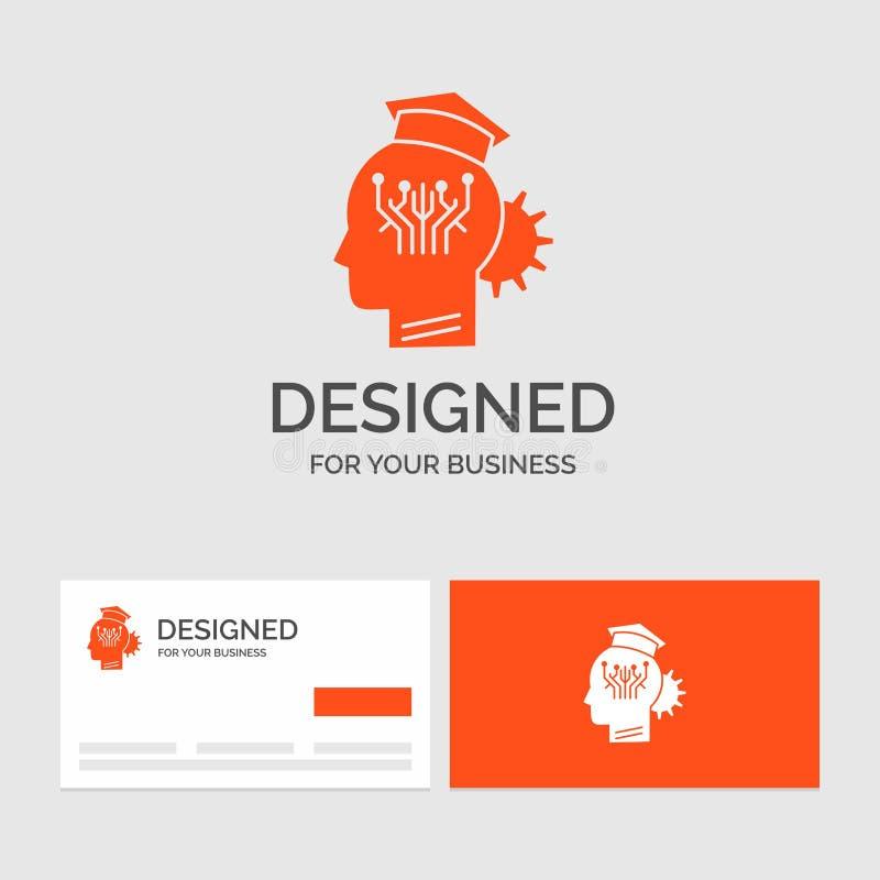 Plantilla del logotipo del negocio para el conocimiento, gestión, distribución, elegante, tecnología Tarjetas de visita anaranjad stock de ilustración