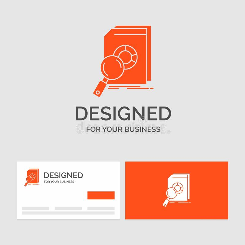 Plantilla del logotipo del negocio para el an?lisis, datos, financieros, mercado, investigaci?n Tarjetas de visita anaranjadas co stock de ilustración