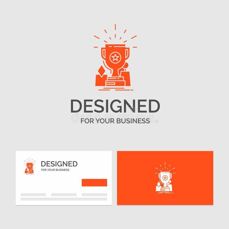 Plantilla del logotipo del negocio para el logro, premio, taza, premio, trofeo Tarjetas de visita anaranjadas con la plantilla de stock de ilustración