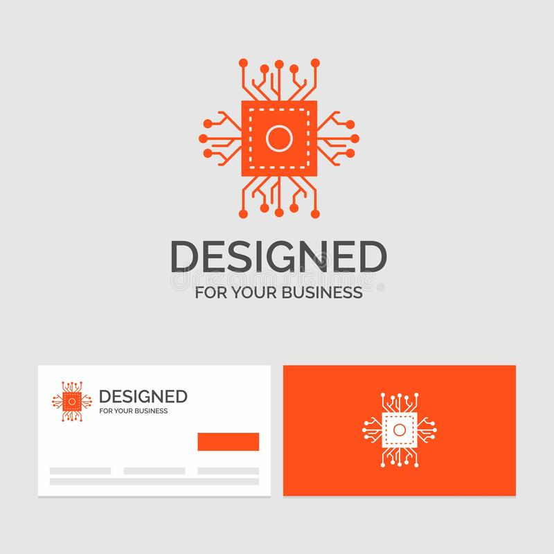 Plantilla del logotipo del negocio para el microprocesador, CPU, microchip, procesador, tecnología Tarjetas de visita anaranjadas ilustración del vector