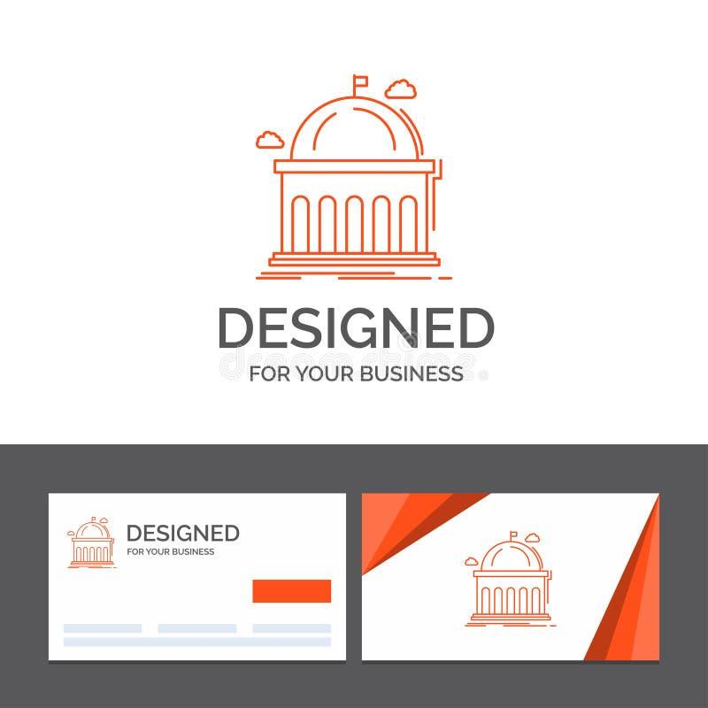 Plantilla del logotipo del negocio para la biblioteca, escuela, educación, aprendiendo, universidad Tarjetas de visita anaranjada ilustración del vector