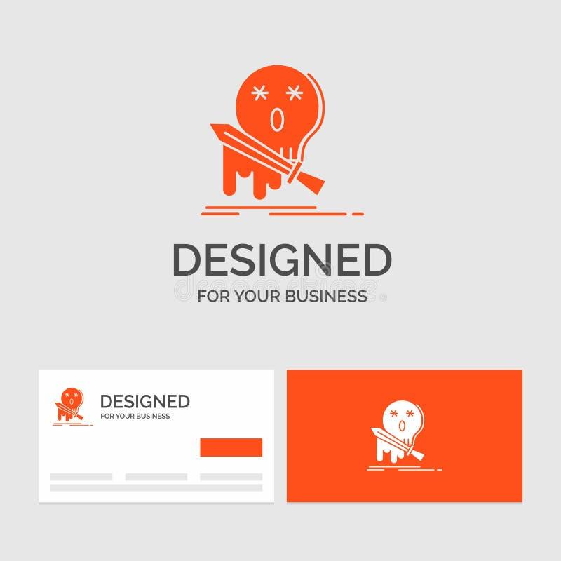 Plantilla del logotipo del negocio para la muerte, frag, juego, matanza, espada Tarjetas de visita anaranjadas con la plantilla d ilustración del vector