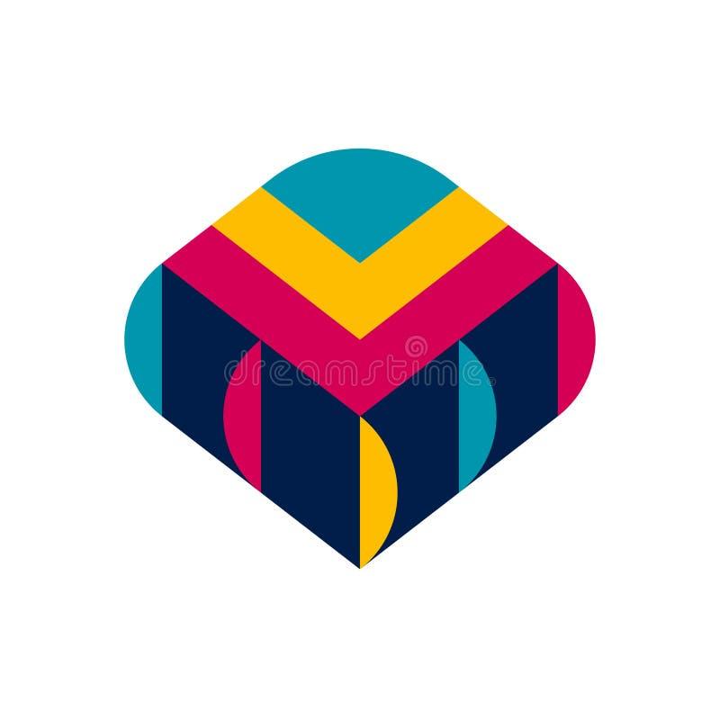 Plantilla del logotipo o icono decorativa del pedazo de la materia textil con la franja stock de ilustración