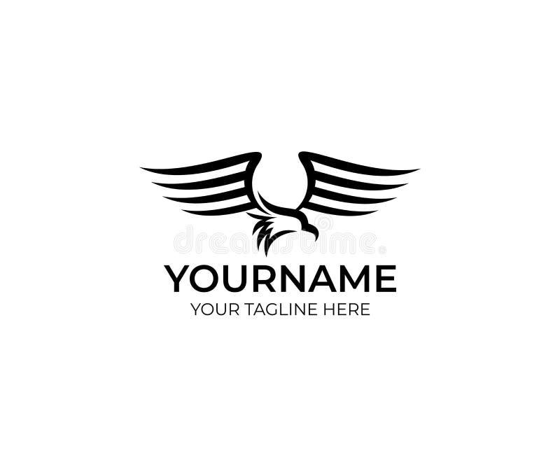 Plantilla del logotipo del pájaro de Eagle El ave rapaz agita y agita su diseño del vector de las alas stock de ilustración