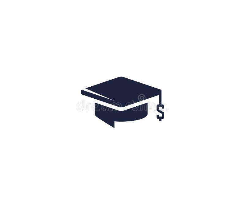 Plantilla del logotipo del préstamo del estudiante Diseño del vector del símbolo del casquillo y del dólar del soltero ilustración del vector