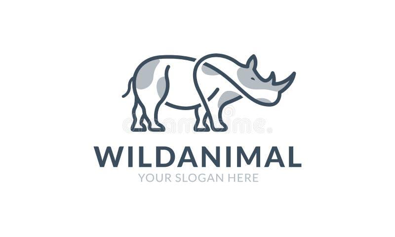 Plantilla del logotipo del rinoceronte ilustración del vector