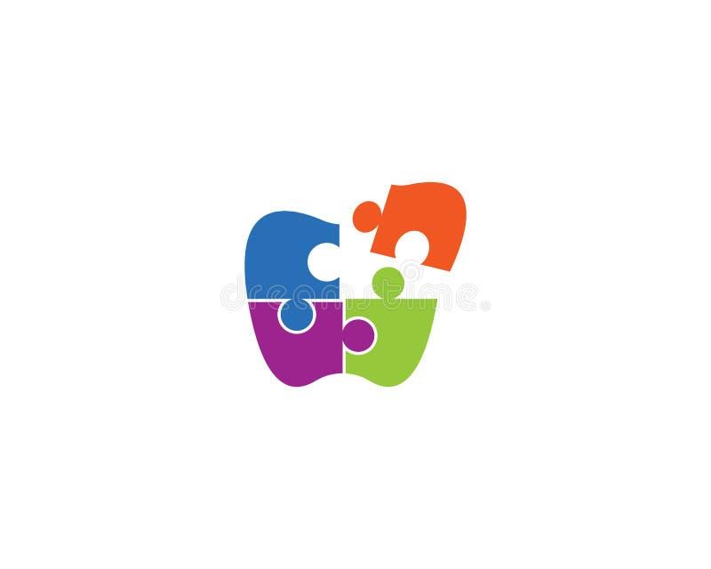 Plantilla del logotipo del rompecabezas stock de ilustración