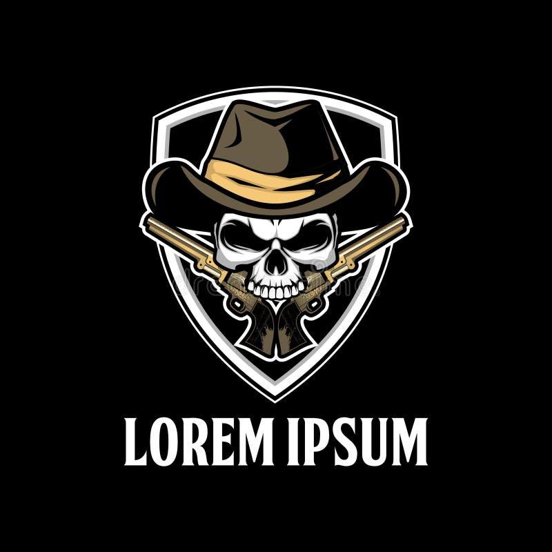 Plantilla del logotipo del vector del cráneo del vaquero que sorprende ilustración del vector