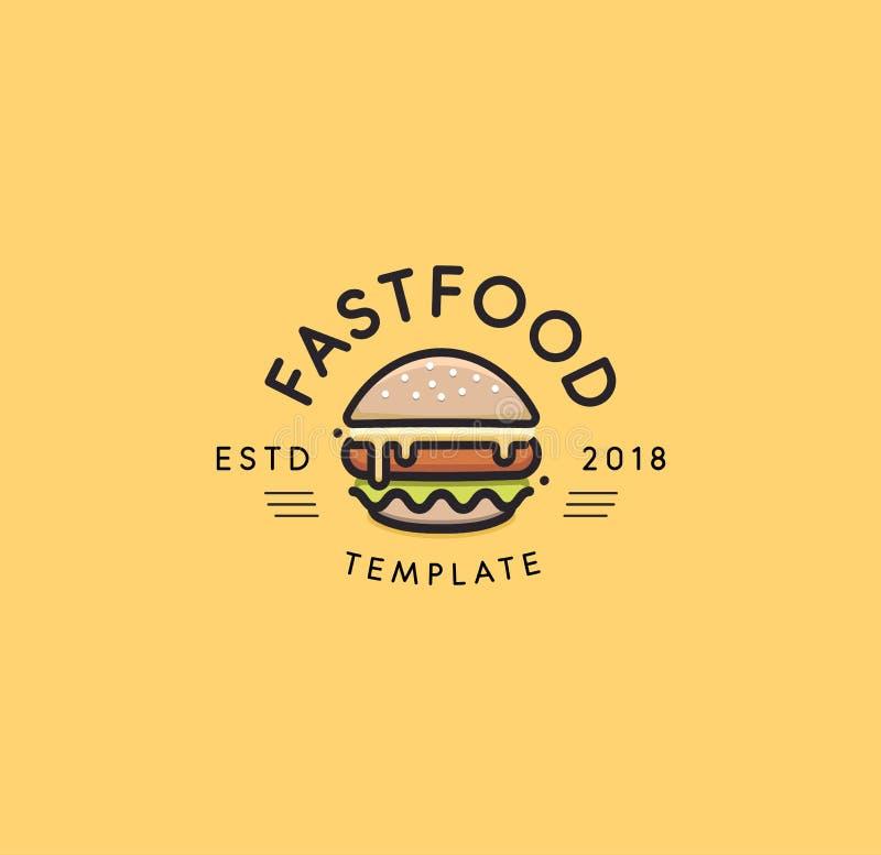 Plantilla del logotipo del vector de los alimentos de preparación rápida Diseño caliente de la hamburguesa muestra de la hamburgu stock de ilustración