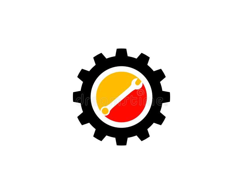Plantilla del logotipo del vector del engranaje y de la llave libre illustration
