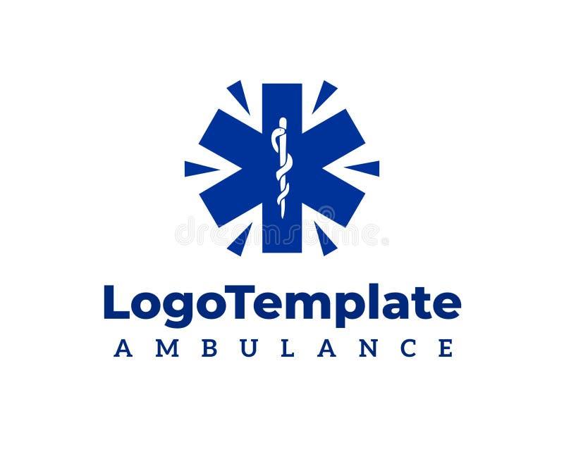 Plantilla del logotipo del vector del símbolo de la ambulancia imagen de archivo libre de regalías