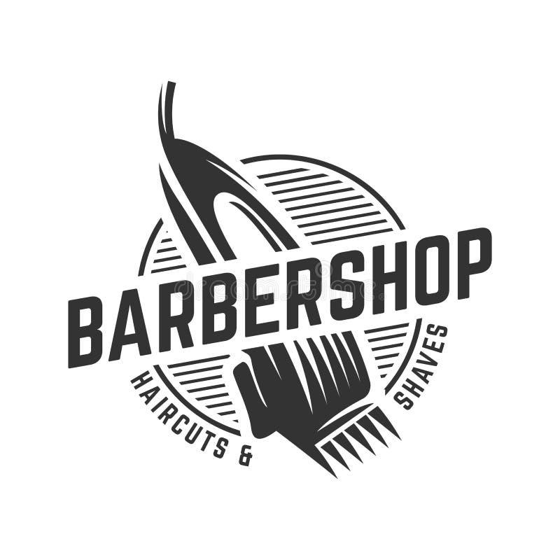 Plantilla del logotipo del vintage de la barbería en fondo blanco aislado ilustración del vector