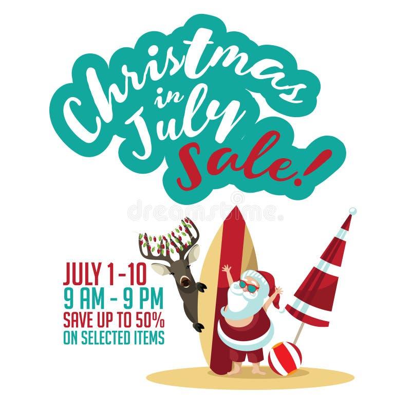 Plantilla del márketing de la venta de la Navidad en julio libre illustration