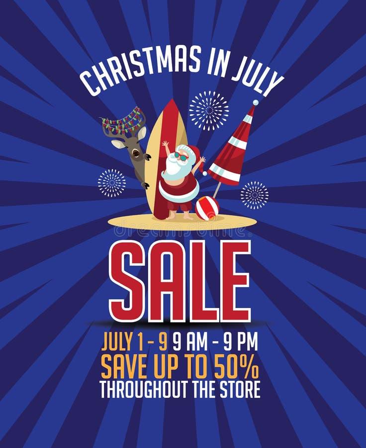 Plantilla del márketing de la venta de la Navidad en julio stock de ilustración